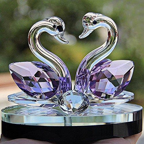 ToDIDAF Crystal Swan Briefbeschwerer, Paar Schwan, Angesicht zu Angesicht, Glasfigur, Elegantes Handwerk für Zuhause/Wohnzimmer/Hochzeitsdekoration (C)