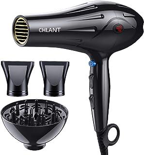 Chantt 2000 W secador de pelo profesional de salón, visualización de temperatura, potente secador iónico, 2 velocidades, 3 ajustes de calor, secador de pelo silencioso con difusor y 2 boquillas concentradoras