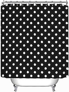 YOLIYANA Black White Seamless Polka Dot Pattern Vector Shower Curtain Cactus Shower Curtain 79''Long x 71''Wide
