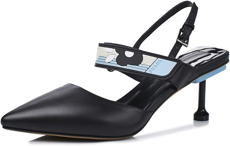 Nine Seven Cow Leather Women's Pointed Toe Mid Stiletto Heel D'orsay Handmade Elegant Dress Pump