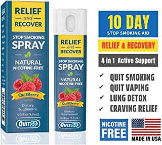 QuitGo Herbal Spray, Instant Craving Relief & Recovery, Calming, Effective, Satisfying Nicotine-Free Stop Smoking Remedy, ...