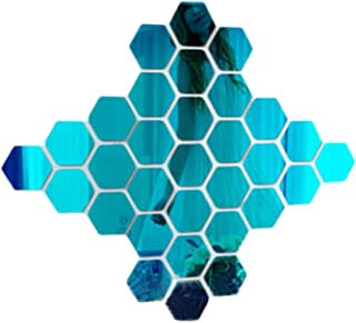 3D creative living room bedroom sofa background 12PCs/Set DIY 3D Mirror Wall Sticker Hexagon Home Decor Mirror Decor Stick...