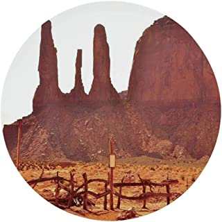 House Decor Decorative Round Tin Sign,Scenic Archaic Monument Valley on Western Desert Odd Formation of Rock and Cliff Print for Game Rooms,Dimensions: 12