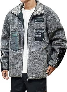 wuliLINL Men's Coat Lamb Faux Fur Jacket Loose Lightweight Windbreaker Solid Color Outwear