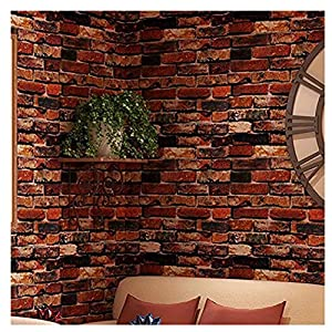 TJLMCORP— Papel pintado autoadhesivo impermeable óxido rojo marrón ladrillo patrón peel-stick papel pintado pegatinas de pared pegatinas de puerta pegatinas de encimera