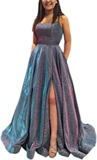 Prom Dresses Long A Line with Pockets Formal Evening Ball Gowns Side Slit Glitter Party Dress 2021