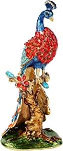 Furuida Peacock Trinket Boxes Hinged Enamel Hand-Painted Animals Craft Ornaments Decorative Jewelry Box Unique Gift for Home Decor (Blue)