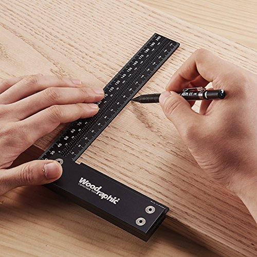 Woodraphic Signature Precision Square in Tool 4-inch Guaranteed T Speed Measurements Ruler for Measuring and Marking Woodworking Carpenters - Aluminum Steel Framing Professional Carpentry Use
