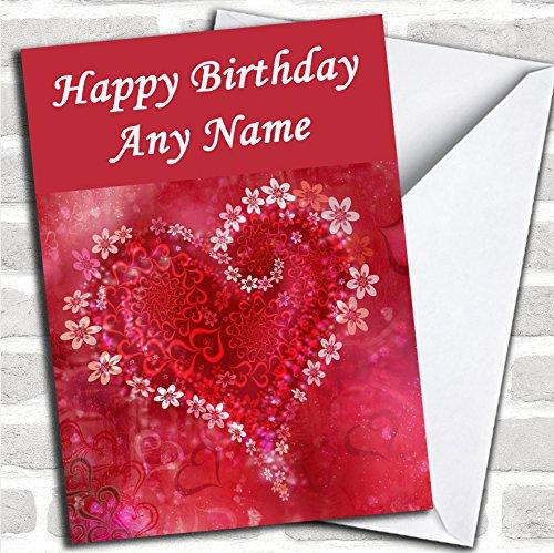 Rode Bloem Liefde Hartje Romantische Verjaardagskaart Met Envelop, Kan Volledig Gepersonaliseerd, Verzonden Snel & Gratis