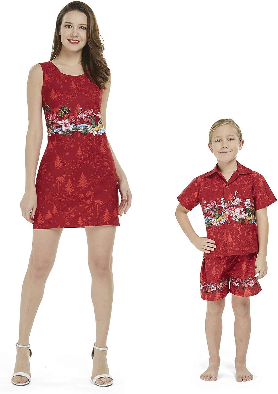 オーバーのアイテム取扱☆ Matching NEW売り切れる前に☆ Mother Son Hawaiian Luau Outfit Christmas Dress B Women
