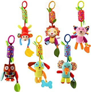 URUTOREO Baby Hanging Rattles Toys, Newborn Crib Toys Car Seat Stroller Toys, Colorful Animal Bell Soft Baby Sensory Rattl...