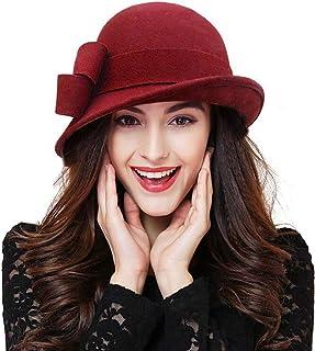 قبعة الشتاء للنساء من Bellady بلون واحد 100% صوف دلو كلوش مع زخرفة القوس
