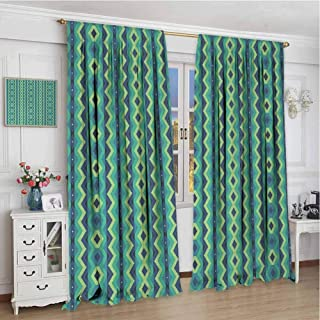 Decor Customized Curtains W84 x L72 Inch,Drapes Thermal Insulated Panels Home décor,Chevron,Vertical Borders with Zigzag Stripes Vintage Geometric Abstract,Dark Blue Sea Green Pale Green