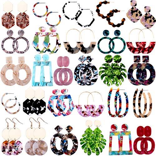 Duufin 28 Pairs Acrylic Earrings Statement Earrings Set Mottled Resin Hoop Earrings Drop Dangle Earring Polygonal Fashion Earrings for Women Girls