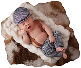 Coberllus Newborn Monthly Baby Photo Props Stripe Cool Boys Cap Rompers Photography