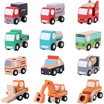 12 Stück Set Holz Cartoon Spielzeug Auto Mini Auto Modell