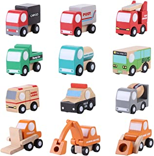 Wooden Toy Car, 12Pcs/Set Early Learning Educational Traffic Toys Cartoon Toy Car 1.57-1.97 x 2.16 x 0.98inch Children Gift
