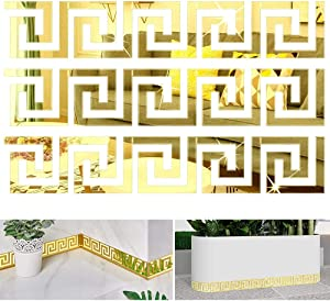CAQIKRIG 60Pcs DIY Mirror Stickers Removable Adhensive DIY Art Design Wall Stickers Decals for Home Art Room Bedroom Background Decoration (Geometric Greek Key Pattern)(Gold)