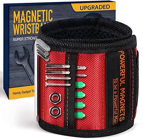 Geschenke Adventskalender Männer Magnetisches Armband, Magnetarmband Magnetische Armbänder Handwerker Geschenke mit 15 kraftvollen Magneten für Halteschrauben, Geschenke für Männer (Schwarz)