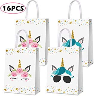 Party Favor Bags for Unicorn Birthday Party Supplies, Party Gift Goody Treat Candy Bags for Unicorn Party Favors Decor Birthday Party Decor for Unicorn Party Girls Kids Birthday Decorations - 16 PCS