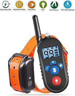 Dog Training Collar, Dog Shock Collar with Remote 2500ft Range with Beep Vibra Shock LED Light Waterproof IPX7 Electric Dog Bark Collar for Medium Large Dogs