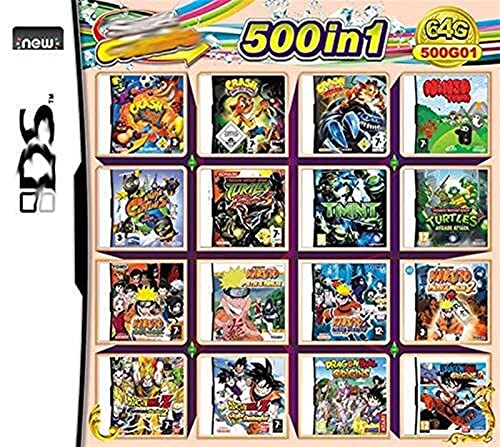 ACGGMR 500 en 1 Juego Cassette, NDS Game Pack Card DS Game Compatible para Super Combo NDS DS 2DS New 3DS XL