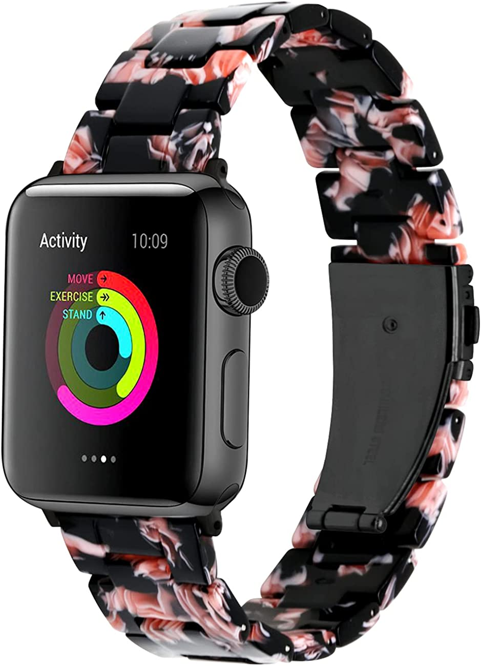 Yingshi Resin Watch Band Compatible for Apple Watch 38mm 40mm 42mm 44mm Replacement Bracelet for Women Men Watch Strap Compatible with iWatch Series 6 SE 5 4 3 2 1