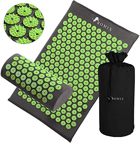 ROMIX Acupressure Mat and Pillow Set, Wellness Therapy Pain Relief Stress Reduction Relaxation and...