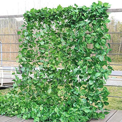 chelitte フェイクグリーン 壁掛け 観葉植物 フェイク 造花 インテリア ツル アイビー 吊り下げ ナチュラル 飾り用 撮影用 ホーム パーティー 結婚式 ポトス葉 大葉 6.5x7cm 2.3m/本 10本入り