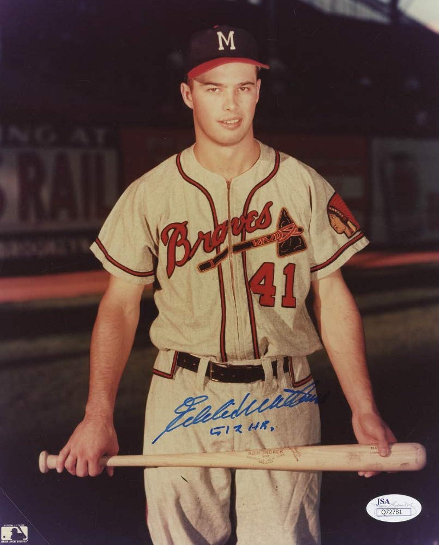 Eddie Mathews Signed Braves 8x10 Photo Inscribed 512 HR. (JSA COA)