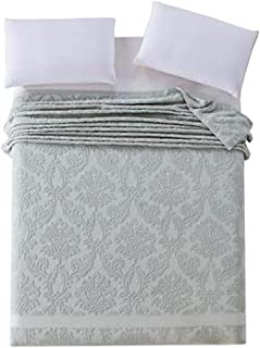 Emma Amy Cotton Blanket Japan Style Adult Full Queen Size Floral Pattern Jacquard Towel Blankets On The Bed,Breen,180X220Cm