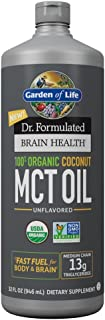 Garden of Life Dr. Formulated Brain Health 100% Organic Coconut MCT Oil 32 fl oz Unflavored, 13g MCTs, Keto & Paleo Diet F...