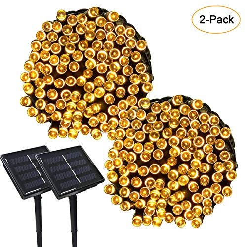 PCJHSP Solar String Lights, 2 Pack 33 feet 100 LED Waterproof 8 Modes Solar Powered Outdoor Lighting Christmas Fairy Lights for Outdoor Lawn Landscape Garden Home Wedding Holiday Party and Xmas Tree