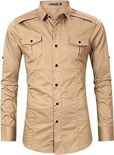 KUULEE قميص عمل الشحن التكتيكي للرجال قمصان قمم ذات أكمام طويلة