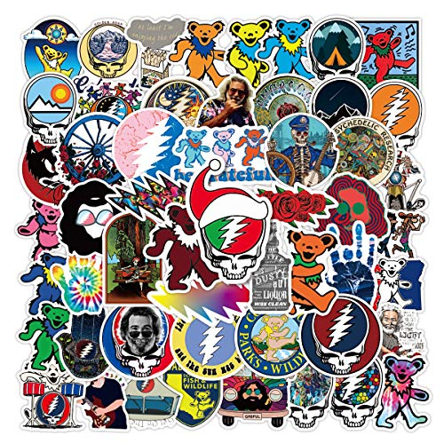 Stickers for Grateful Dead[50pcs] Vinyl Waterproof for Laptop Stickers,Skateboard, Hydro Flask, Water Bottle, Computer, Guitar,Luggage, Bike Bumper.Adults Stickers for Teens
