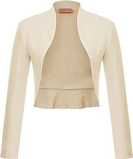 Women's Vintage Cropped Shrug Open Front Long Sleeve Ruffled Bolero Cardigan