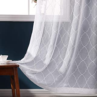 MIULEE 2 Panels Moroccan Pattern Embroidery Sheer Curtains Natural Linen Semi Sheers Elegant White Drapes Grommet Top Window Voile Panels for Bedroom Living Room 54X96 Inch