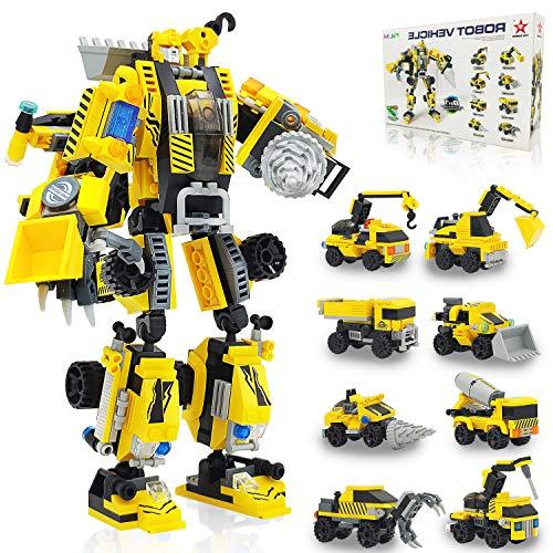 siyushop Roboter Bausteine Spielzeug ab 5 Jahre Alt, Konstruktionsspielzeug 8 in 1 Stem Bauspielzeug Gebäude Lernspielzeug, 530 PCS Bausteine Spielzeug ab 6 7 8 9 10 Jahren für Jungen