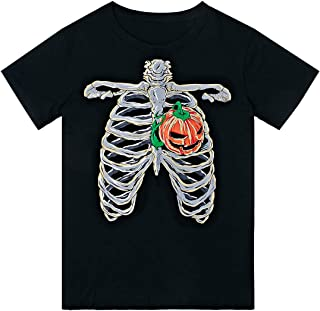 Unisex Adult Halloween T Shirts 3D Funny Cool Print Pumpkin Skeleton Rib Short Sleeve Crew Neck Cotton Top Tees