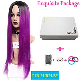 30Inches Long Straight Black Root Ombre wig blonde Brown Synthetic Wigs Heat Resistant Fiber For Women Cosplay middle part,Purple,30inches