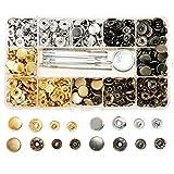 SUNTATOP 140 Chiusure a Scatto in Metallo da 2,5 mm, 4 Colori, Bottoni a Pressione in Metallo con 4 Strumenti di Fissaggio per Cucire e artigianare Vestiti (4colors-140set)