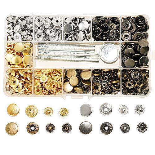 SUNTATOP 140 Chiusure a Scatto in Metallo da 12,5 mm, 4 Colori, Bottoni a Pressione in Metallo con 4 Strumenti di Fissaggio per Cucire e artigianare Vestiti (4colors-140set)
