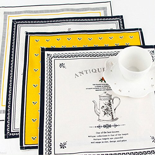 Bellagione Cotton Linen Cloth Napkins Placemats for Dining Table Coffee Kitchen Place Mat Set of 4 Patterns Heat Resistant Placemat Machine Washable for Kitchen Coffee Wedding Party 13.8 X 13.5