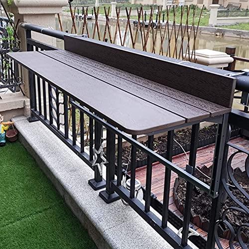 SFSGH Barandilla de balcón para Exteriores, Mesa Plegable Colgante, Mesa Plegable montada en la Pared, Mesa de barandilla de balcón Ajustable (Color: café, 8 tamaños)