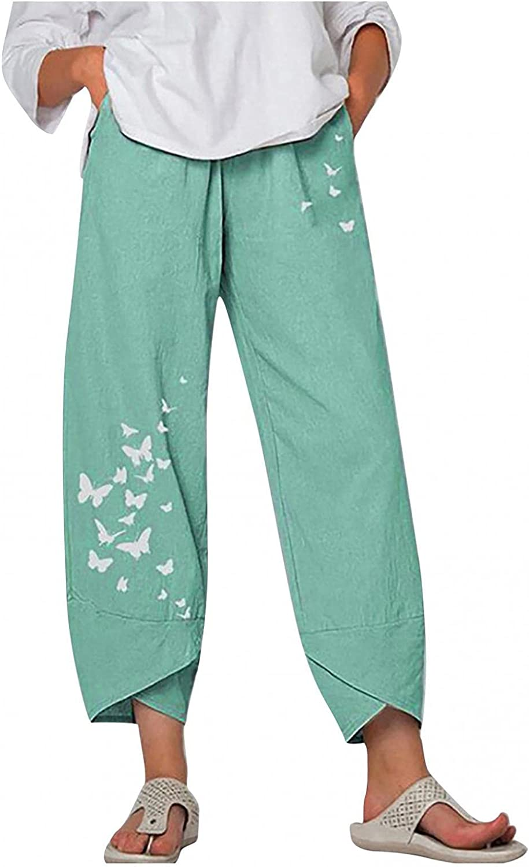 Toeava Womens Casual Cotton Linen Pants Capri Pants Comfy Drawstring Cat Print Cropped Trouser Harem Pants with Pocket