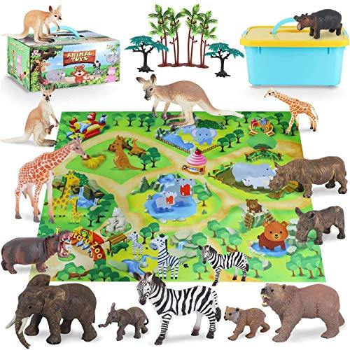 Toy Animals for Toddlers Zoo Animals Figures Playset with Activity Play Mat & Trees, Realistic Jungle Animal Figurines Mom&Baby Animal Set,Educational and Child Development Toy for Kids, Boys & Girls