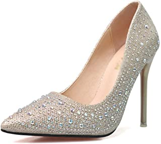 d392307f4dfb Drew Toby Women Pumps Pointed Toe Shallow Mouth Solid Color Rhinestone  Fashion High Heels