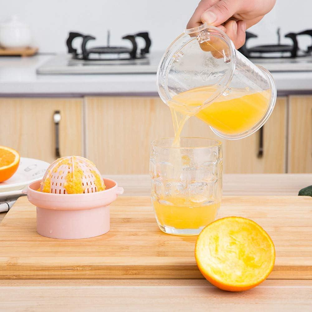 Manual Portátil Limón UVA Exprimidor, Prensa de Mano Agrios Naranja Exprimidor Verter el caño, con Colador y Contenedor,Pink Pink