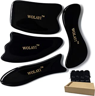 WOLAYI Thick Gua Sha Scraping Massage Tools with Smooth Edge,Hand Made Buffalo horn Guasha Board,Myofascial Release Tools-Pain Release,SPA Physical Therapy Tool for Face,Body,Graston,ASTYM [4 Set]