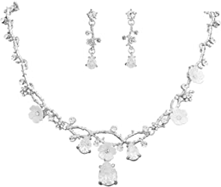 S SNUOY Wedding Jewelry Sets for Brides Crystal Necklace and Earrings Set